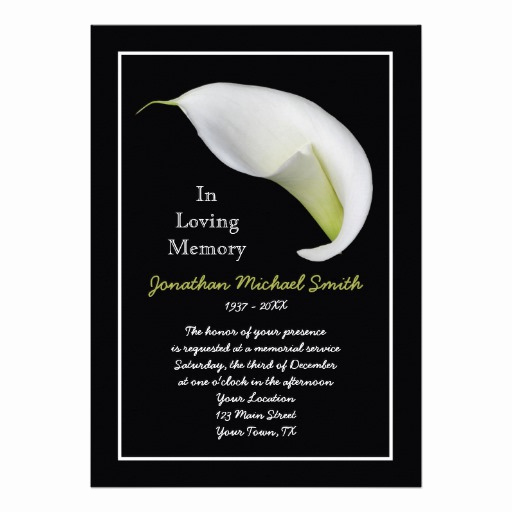 "Free Memorial Card Template Inspirational Memorial Service Invitation Announcement Template 5"" X 7"