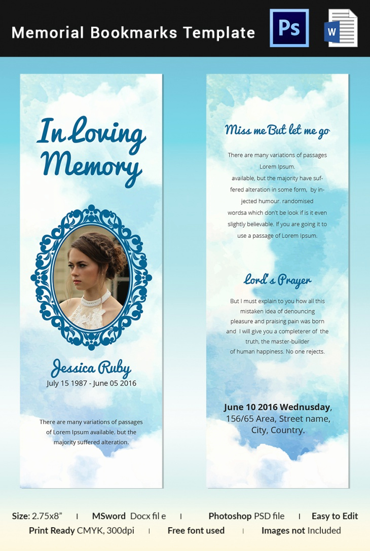 Free Memorial Card Template Luxury 5 Memorial Bookmark Templates – Free Word Pdf Psd