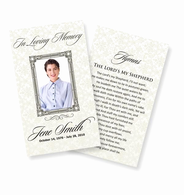 Free Memorial Card Template Luxury Funeral Prayer Cards Examples