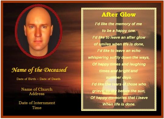 Free Memorial Card Template New Free Printable Funeral Prayer Card Template