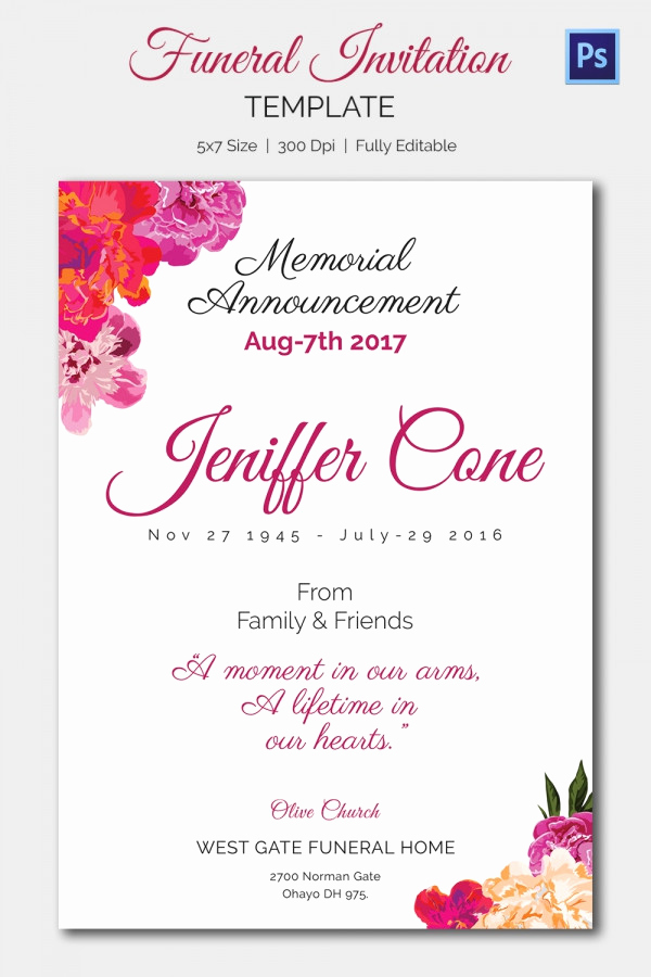 Free Memorial Card Template Unique 15 Funeral Invitation Templates – Free Sample Example