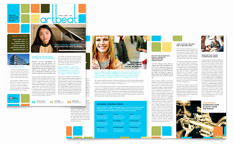 Free Microsoft Publisher Templates Elegant Arts Council & Education Newsletter Template Word