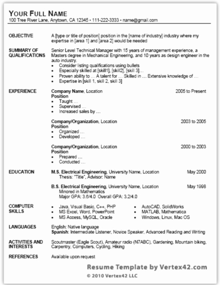job search free resume template for microsoft word