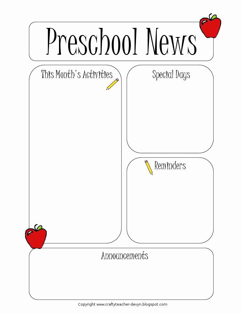 Free Newsletter Templates for Teachers Awesome Preschool Newsletter Template