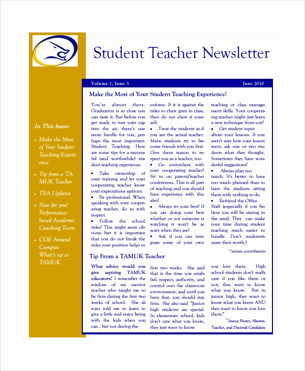 Free Newsletter Templates for Teachers Elegant 7 Teacher Newsletter Templates
