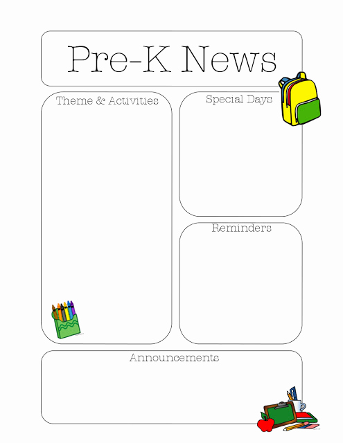 Free Newsletter Templates for Teachers Elegant Pre K Newsletter Template
