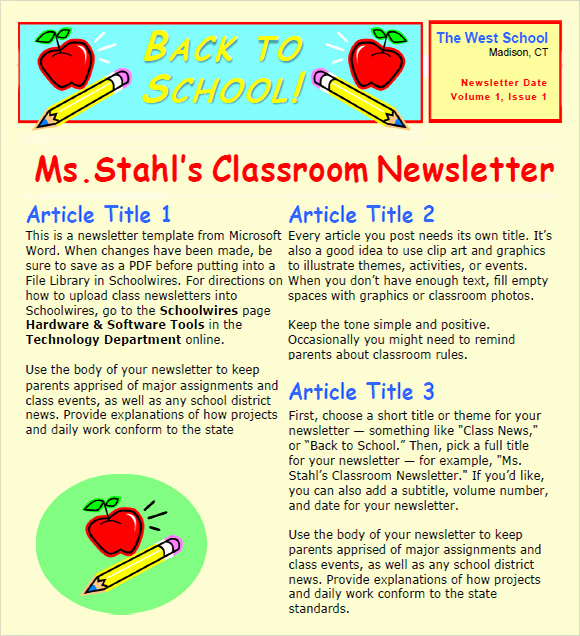 Free Newsletter Templates for Teachers Inspirational 6 Sample Classroom Newsletters