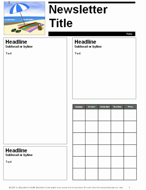 Free Newsletter Templates for Teachers Inspirational Free School Newsletter Templates for Teachers