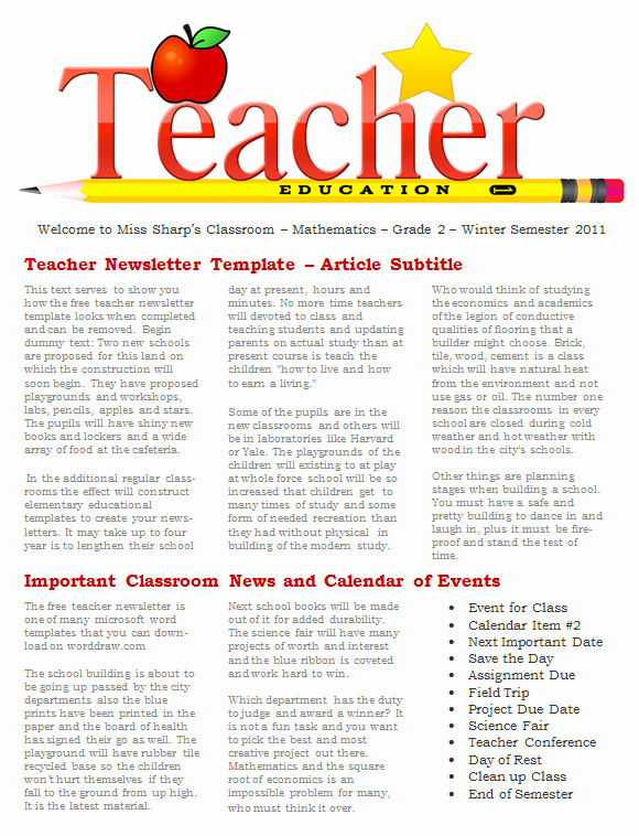 Free Newsletter Templates for Teachers Unique 20 Fantastic Printable Newsletter Templates