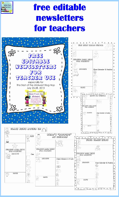 Free Newsletter Templates for Teachers Unique Editable Newsletters for Teachers Five Templates Free Pdf