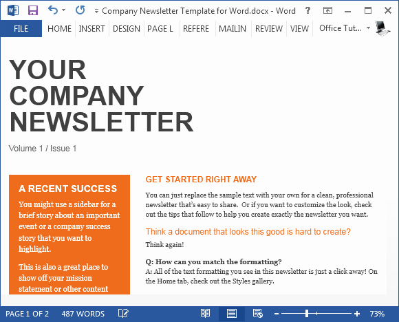 Free Newsletter Templates Word Beautiful Free Pany Newsletter Template for Word