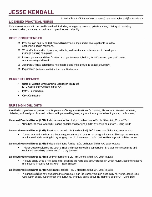 Free Nursing Resume Templates Unique Free Lpn Licensed Practical Nurse Resume Example