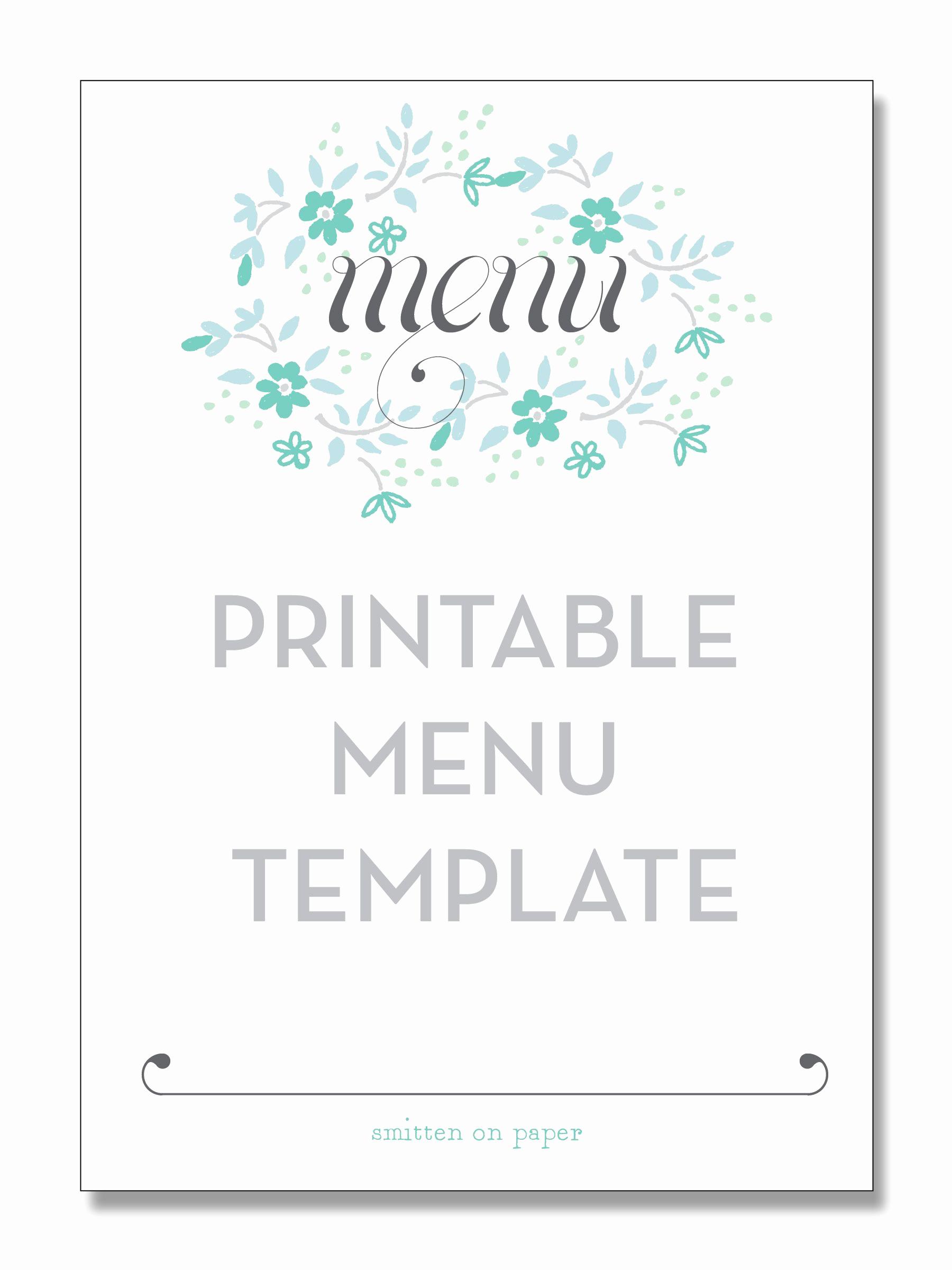 Free Online Menu Templates Awesome Freebie Friday Printable Menu Party Time