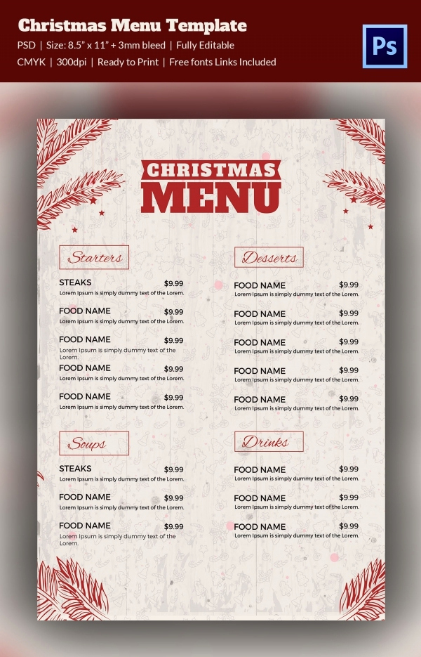 Free Online Menu Templates Best Of 35 Christmas Menu Template Free Sample Example format