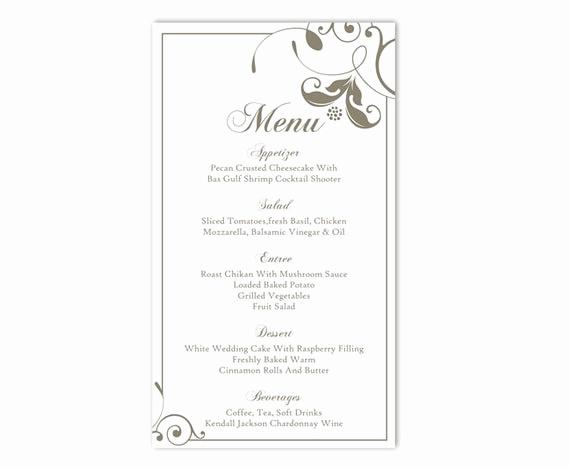 Free Online Menu Templates Fresh Wedding Menu Template Diy Menu Card Template Editable Text