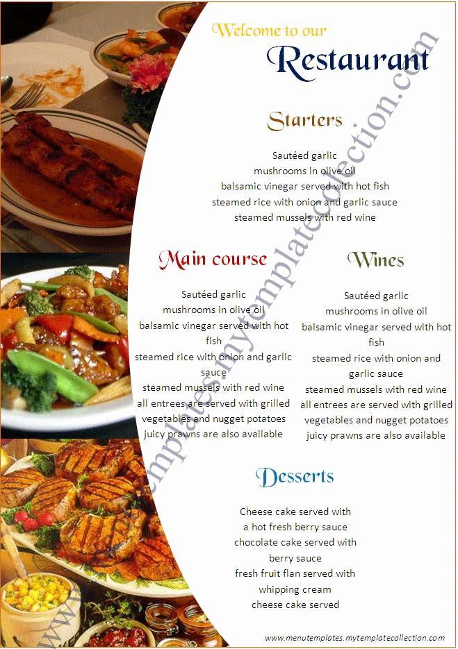 Free Online Menu Templates Inspirational Restaurant Menu Templates Free Download