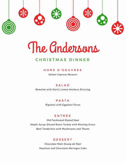 Free Online Menu Templates Lovely Green and Red Christmas Menu Templates by Canva