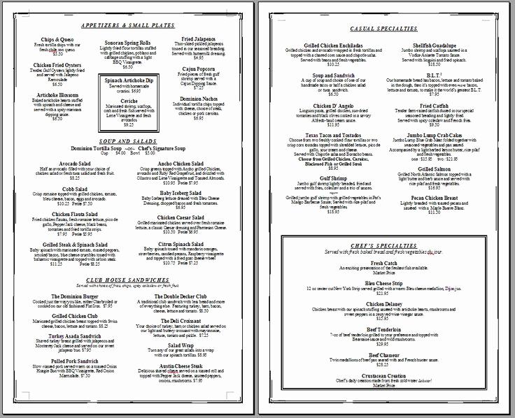 Free Online Menu Templates Unique Free Printable Template Restaurant Menus