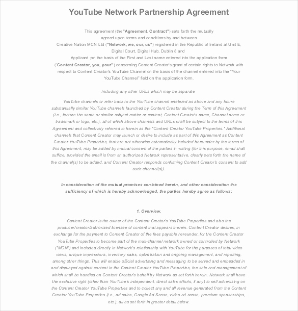 Free Partnership Agreement form Beautiful 18 Partnership Agreement Templates – Free Sample Example