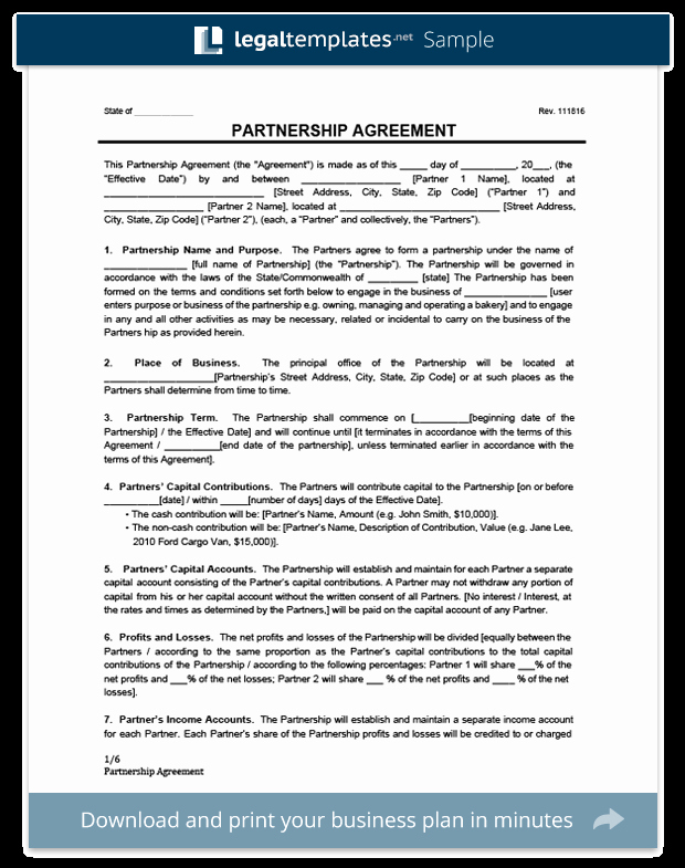 Free Partnership Agreement form Beautiful Partnership Agreement Template