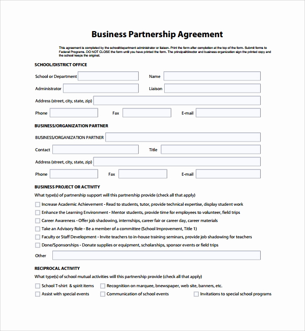 Free Partnership Agreement form Beautiful Sample Business Partner Agreement 7 Free Documents