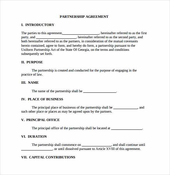 Free Partnership Agreement form Beautiful Sample Partnership Agreement 24 Free Documents Download