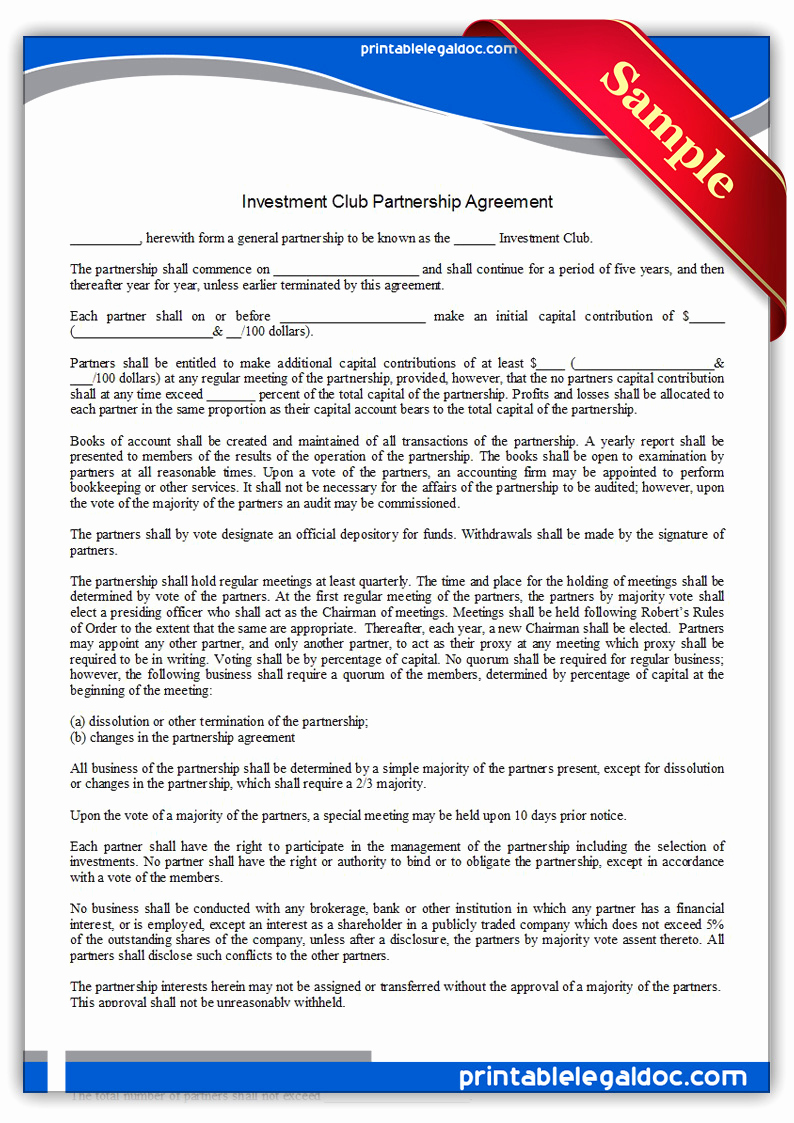Free Partnership Agreement form Elegant Free Printable Investment Club Partnership Agreement form