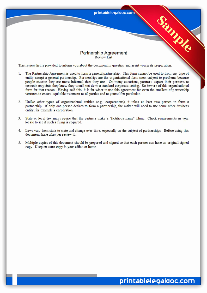 Free Partnership Agreement form Fresh Free Printable Partnership Agreement form Generic