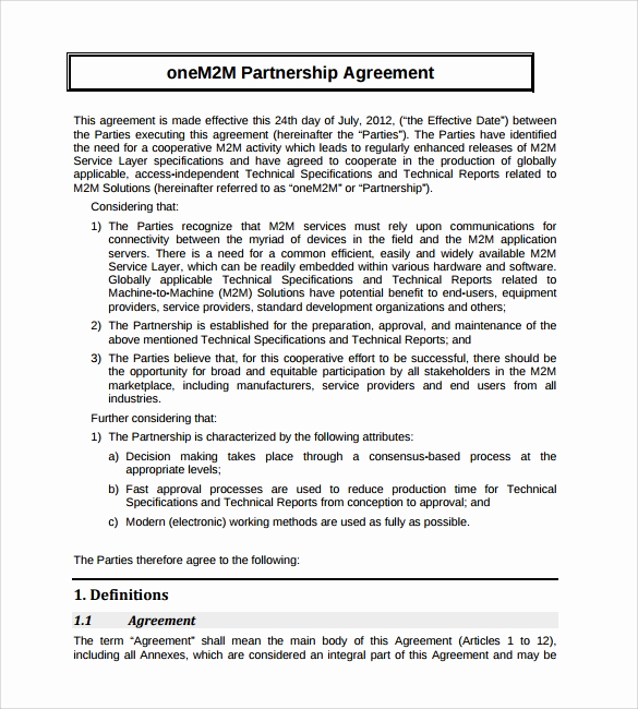 Free Partnership Agreement form Inspirational Sample Partnership Agreement 24 Free Documents Download