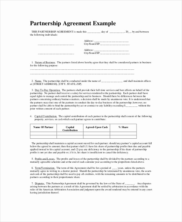 Free Partnership Agreement form Inspirational Simple Business Partnership Agreement 7 Examples In