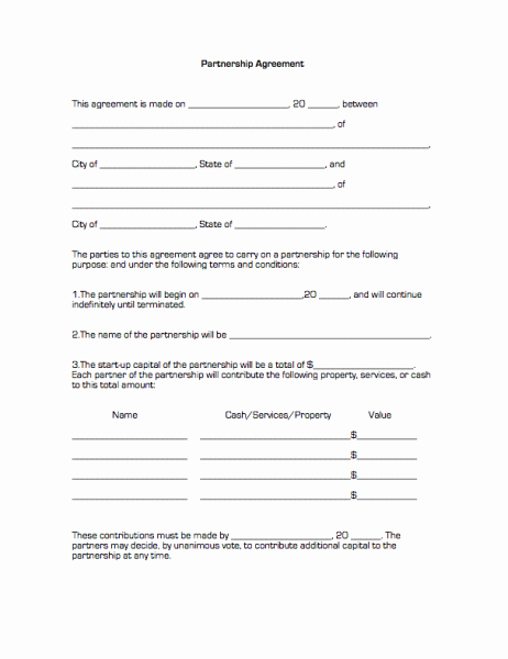 Free Partnership Agreement form Lovely Partnership Agreement