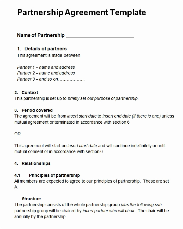 Free Partnership Agreement form Luxury Sample Partnership Agreement 24 Free Documents Download