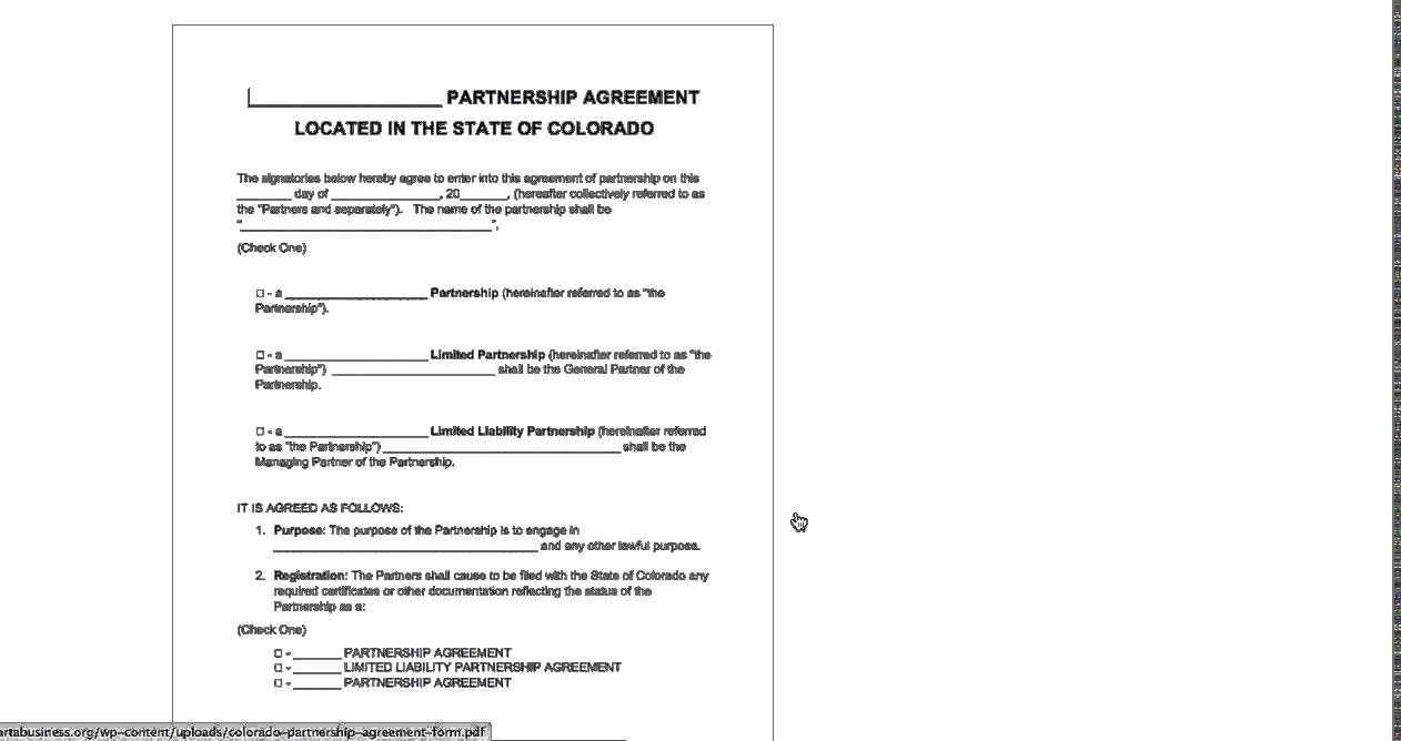 Free Partnership Agreement form New Free Colorado Partnership Agreement Template