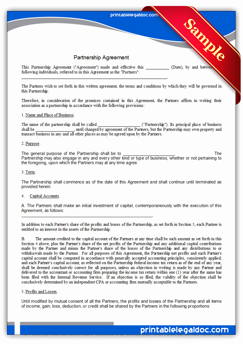 Free Partnership Agreement form New Free Printable Partnership Agreement form Generic