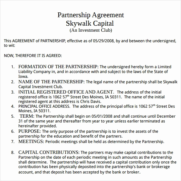 Free Partnership Agreement Template Elegant Partnership Agreement 9 Free Pdf Doc Download