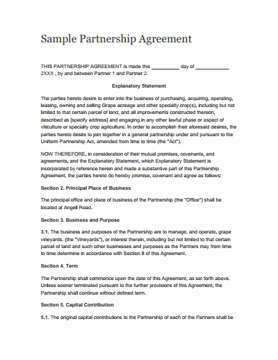 Free Partnership Agreement Template Luxury Partnership Agreement Template Free Download Create