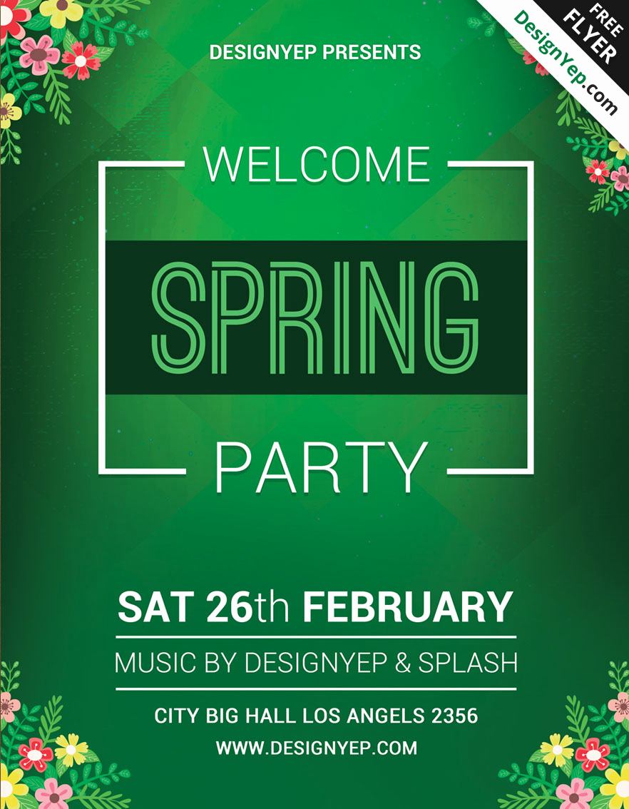 Free Party Flyer Templates New 45 Premium & Free Fresh Spring Psd Flyer Templates