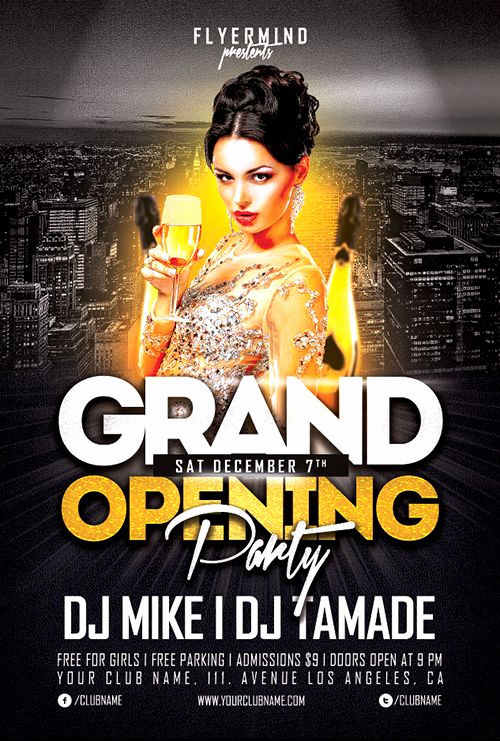 Free Party Flyer Templates Unique Grand Opening Party Flyer Template Freebie Free Party