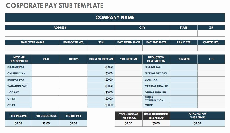 Free Paycheck Stub Template Fresh Free Pay Stub Templates