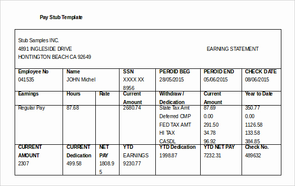 Free Paycheck Stub Template Luxury 24 Pay Stub Templates Samples Examples & formats