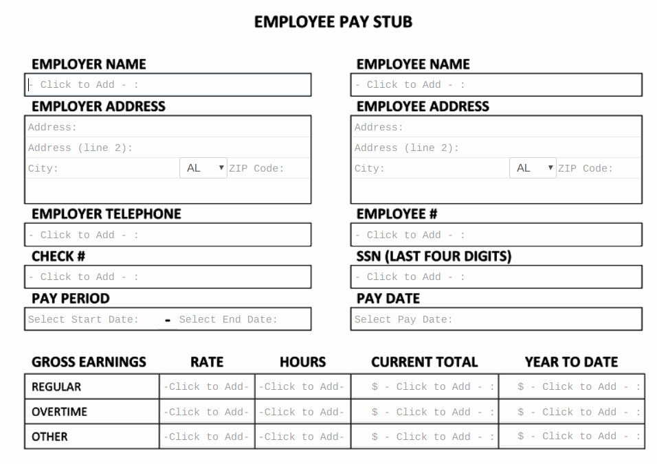 Free Paycheck Stub Template New Free Pay Stub Template Tips & What to Include