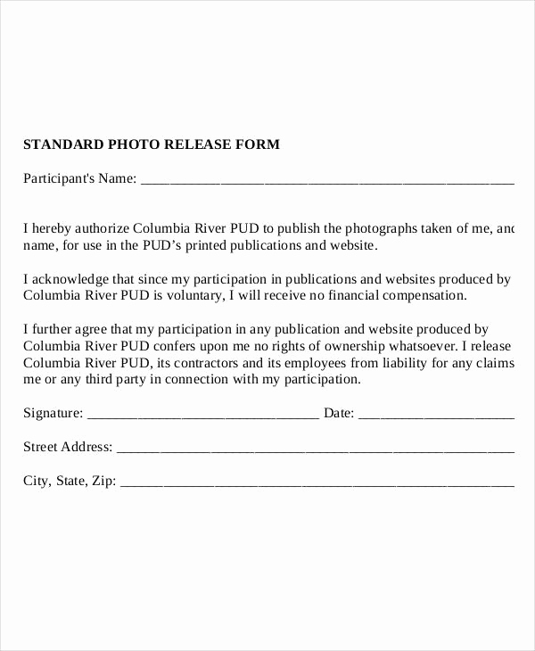Free Photo Release form Awesome Release form Template 9 Free Pdf Documents