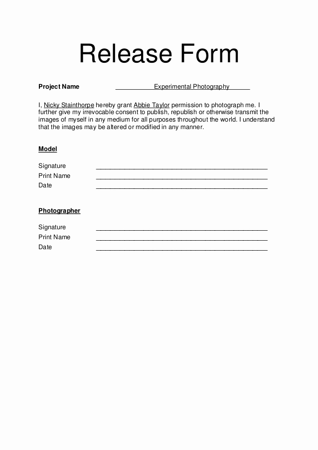 Free Photo Release form Best Of Model Release form Free Printable Documents