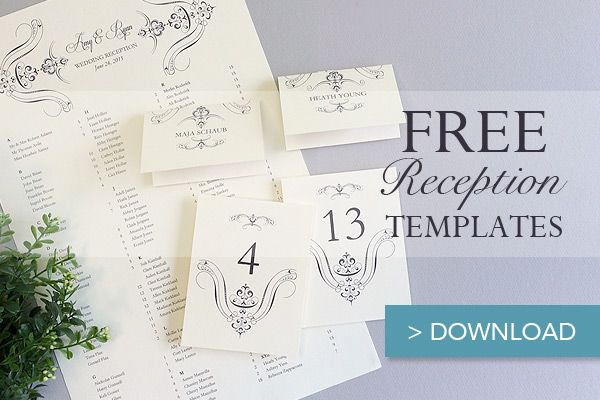 Free Place Card Template Elegant Free Printable Wedding Reception Templates