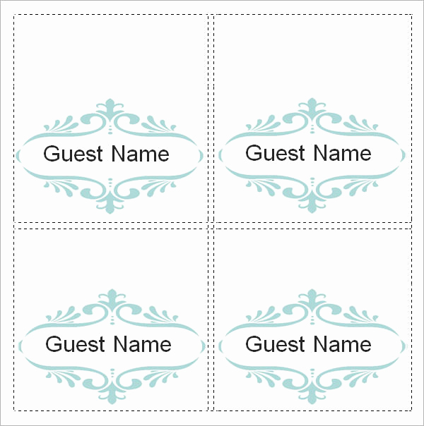 Free Place Card Template New Sample Place Card Template 6 Free Documents Download In