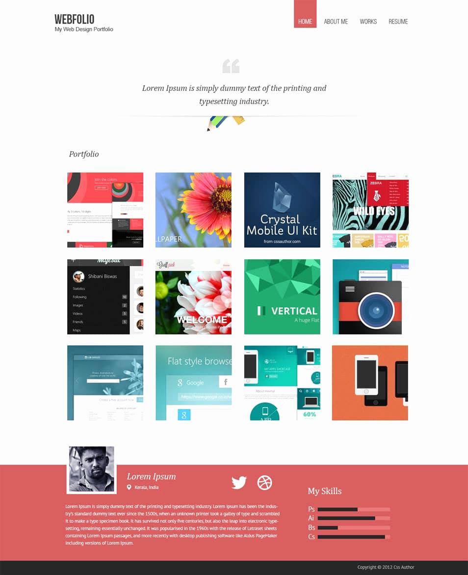Free Portfolio Website Templates Elegant Free Portfolio Website Templates Psd Css Author