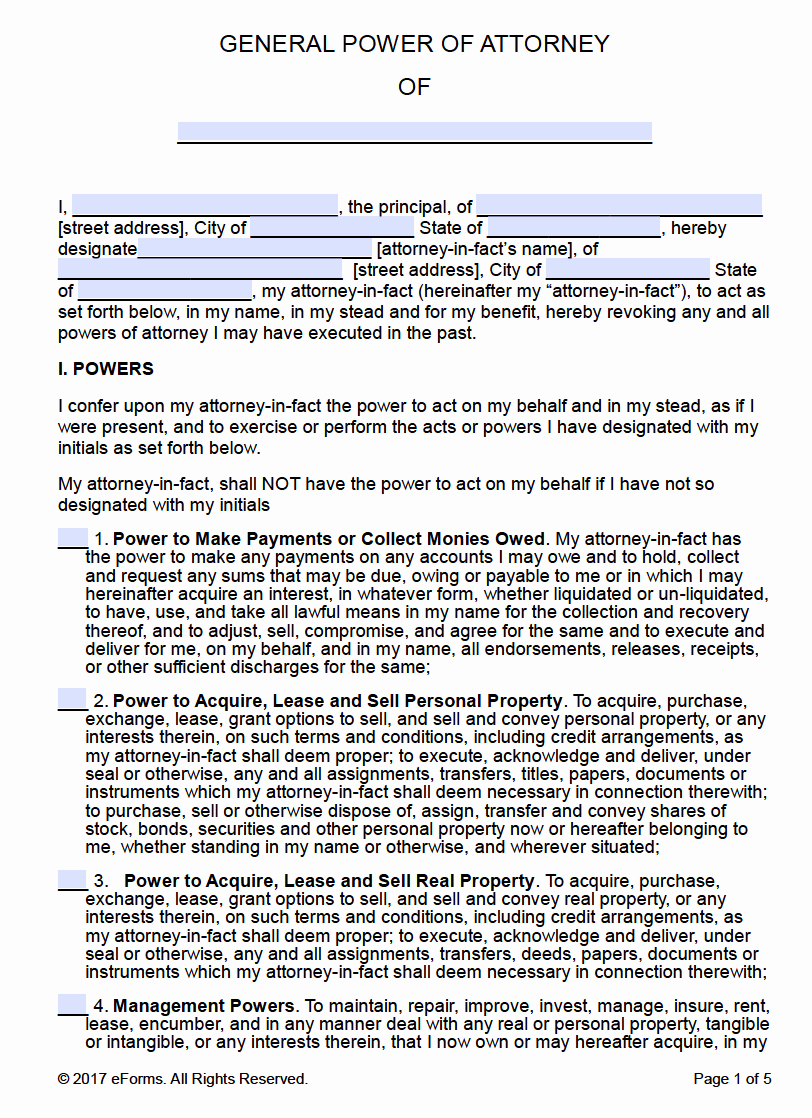 Free Power Of attorney Awesome Free Printable General Power Of attorney forms