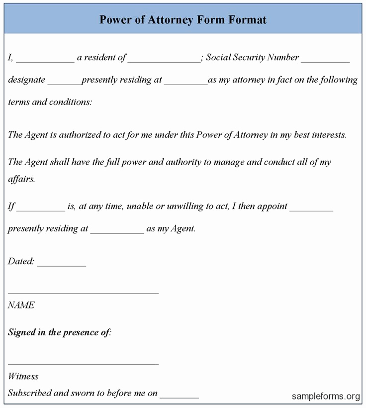 Free Power Of attorney forms Inspirational Free Power attorney Template