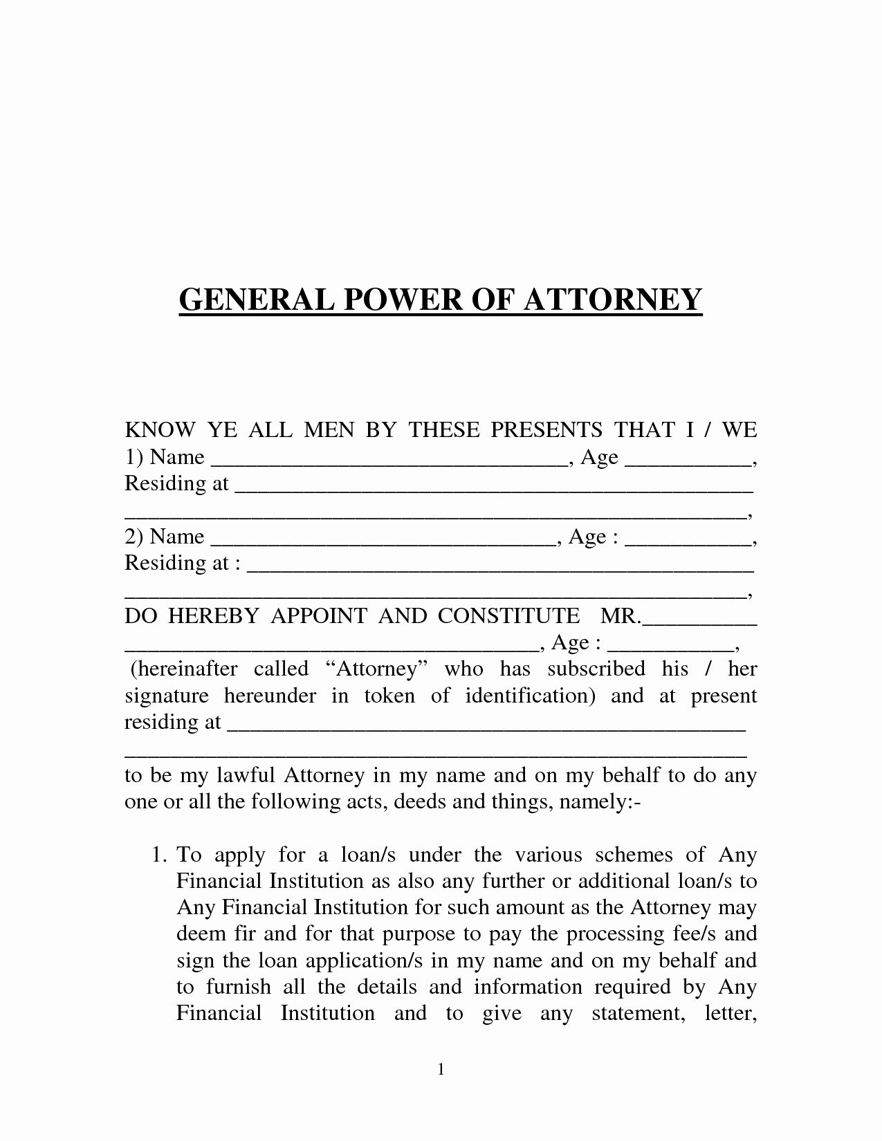 Free Power Of attorney forms Inspirational Free Printable Power Of attorney form Generic