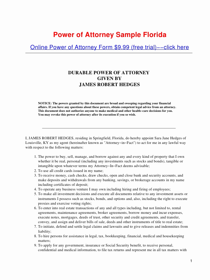 Free Power Of attorney forms Unique Power Of attorney Sample Florida